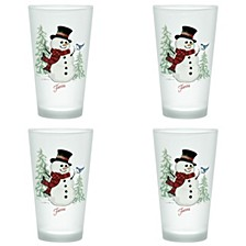Fiesta Snowman 16-Ounce Frosted Tapered Cooler Glass, Set of 4