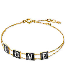 Michael Kors Gold-Tone Sterling Silver Pavé Love Link Bracelet