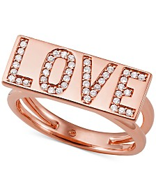 Michael Kors Rose Gold-Tone Sterling Silver Pavé Love Statement Ring