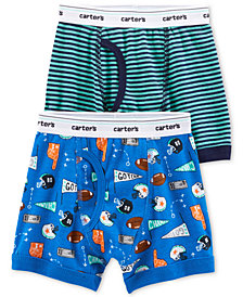 Carter's Little & Big Boys 2-Pk. Sports-Print & Stripes Cotton Boxers