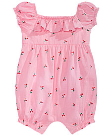 First Impressions Baby Girls Cotton Cherry-Print Romper, Created for Macy's