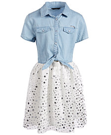 GUESS Big Girls Star-Print Denim Shirtdress
