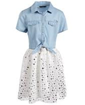 4209c6386d GUESS Big Girls Star-Print Denim Shirtdress