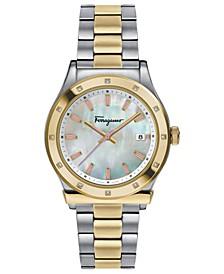 Women's Swiss 1898 Diamond-Accent Two-Tone Stainless Steel Bracelet Watch 40mm
