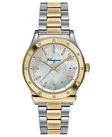 Ferragamo Women's Swiss 1898 Diamond-Accent Two-Tone Stainless Steel Bracelet Watch 40mm