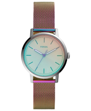 Fossil WOMEN'S NEELY IRIDESCENT-TONE STAINLESS STEEL BRACELET MESH WATCH 34MM
