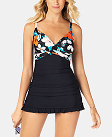 Swim Solutions Criss Cross Swimdress, Created for Macy's