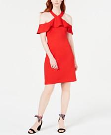 Trina Trina Turk Ruffled Cold-Shoulder Sheath Dress