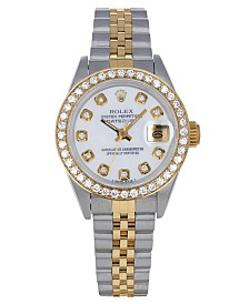 Pre-Owned Rolex Women's Swiss Automatic Datejust Jubilee (3/4 ct. t.w.) 18K Gold & Stainless Steel Bracelet Watch 26mm