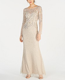 Petite Beaded Overlay Column Gown