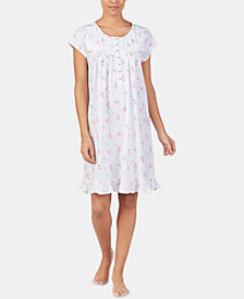 Eileen West Printed Cap Sleeve Cotton Nightgown