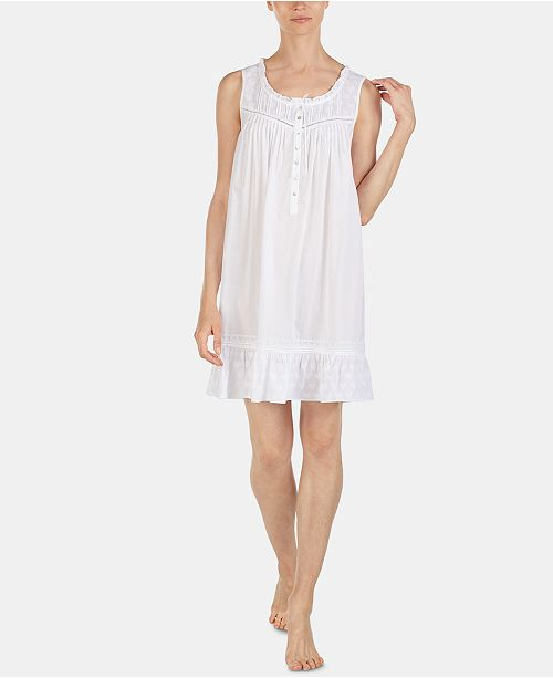 Eileen West Heart-Design Woven Jacquard Cotton Chemise Nightgown E5319960