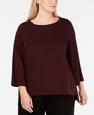 Eileen Fisher Plus Size 3/4-Sleeve Top
