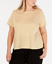 1dde0ab47 Eileen Fisher Plus Size Linen Striped T-Shirt