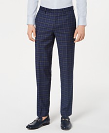 Bar III Men's Slim-Fit Plaid Pants