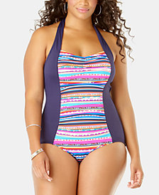 Anne Cole Plus Size Retro-Braid One-Piece Swimsuit