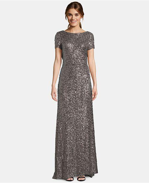 a6c8a81464eae Betsy & Adam Petite Cowl-Back Short-Sleeve Gown & Reviews - Dresses ...