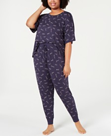 Jenni by Jennifer Moore Plus Size Core Short-Sleeve Top & Pajama Pants Sleep Separates, Created for Macy's