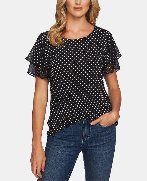 d93dc83ab42235 CeCe Dot-Print Flutter-Sleeve Top   Reviews - Tops - Women - Macy s