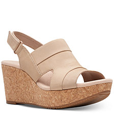 Clarks Collection Women's Annadel Ivory Wedge Sandals