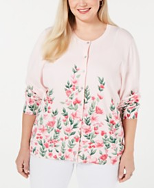 Karen Scott Plus Size Poppy Dream Cardigan, Created for Macy's