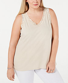 Karen Scott Plus Size Scalloped Lace Tank Top, Created for Macy's
