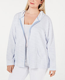 Karen Scott Petite Striped Hoodie Jacket, Created for Macy's