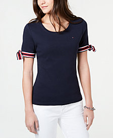 Tommy Hilfiger Striped Tie-Sleeve Shirt, Created for Macy's