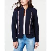 Deals on Tommy Hilfiger Band Collar French Terry Jacket