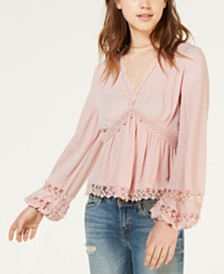 American Rag Juniors' Lace-Trim V-Neck Blouse, Created for Macy's