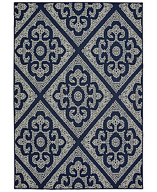 "Oriental Weavers Marina 3804B Navy/Ivory 2'5"" x 4'5"" Indoor/Outdoor Area Rug"