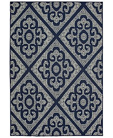 "Oriental Weavers Marina 3804B Navy/Ivory 6'7"" x 9'6"" Indoor/Outdoor Area Rug"