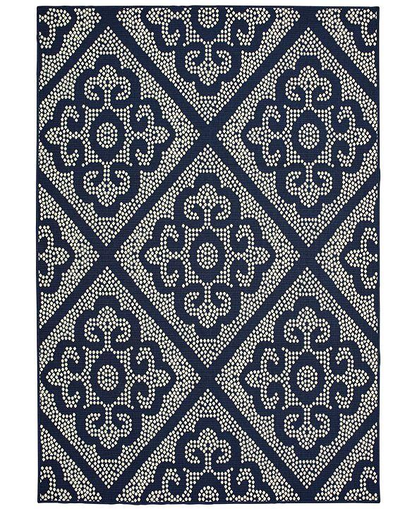 """Oriental Weavers Marina 3804B Navy/Ivory 5'3"""" x 7'6"""" Indoor/Outdoor Area Rug"""