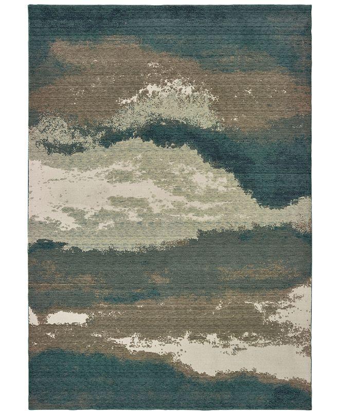 "Oriental Weavers Montage 1801B Blue/Ivory 7'10"" x 10'10"" Area Rug"