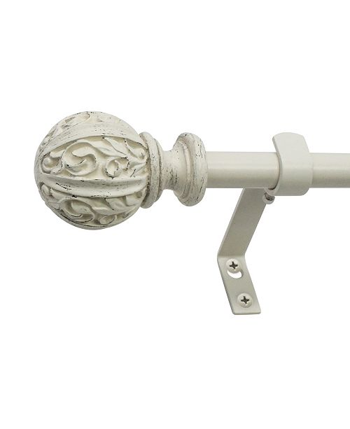 Decopolitan Montevilla 5/8-Inch Leaf Ball Telescoping Curtain Rod Set, 48 to 86-Inch, Distressed White