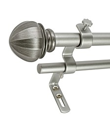 Montevilla 5/8-Inch Facet Ball Double Telescoping Curtain Rod Set, 86 to 128-Inch, Antique Silver