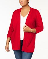 7a5ead29cc1 Karen Scott Plus Size Cotton 3 4-Sleeve Cardigan