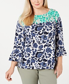 Charter Club Plus Size Wallpaper-Print Crepe Top, Created for Macy's