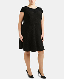NY Collection Plus Size Burnout Velvet & Glitter Fit & Flare Dress
