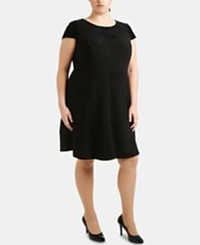 NY Collection Plus Size Burnout Velvet & Glitter Fit & Flare Dress