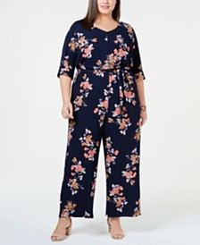 Love Squared Trendy Plus Size Floral Jumpsuit
