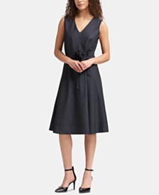 DKNY Denim V-Neck A-Line Dress