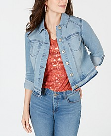 Petite Released-Hem Cropped Denim Jacket, Created for Macy's