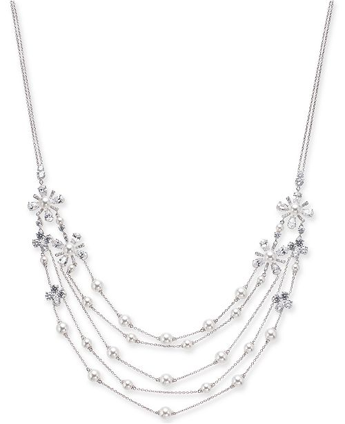 "Eliot Danori Silver-Tone Crystal & Imitation Pearl Gardenia Flower Statement Necklace, 16"" + 1"" extender, Created for Macy's"