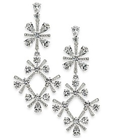 Silver-Tone Crystal Mimosa Flower Drop Earrings, Created for Macy's
