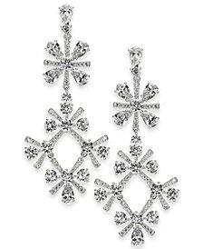Eliot Danori Silver-Tone Crystal Mimosa Flower Drop Earrings, Created for Macy's