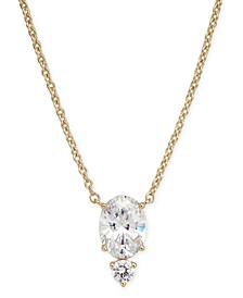 "Crystal Oval Pendant Necklace, 16"" + 1"" extender, Created for Macy's"