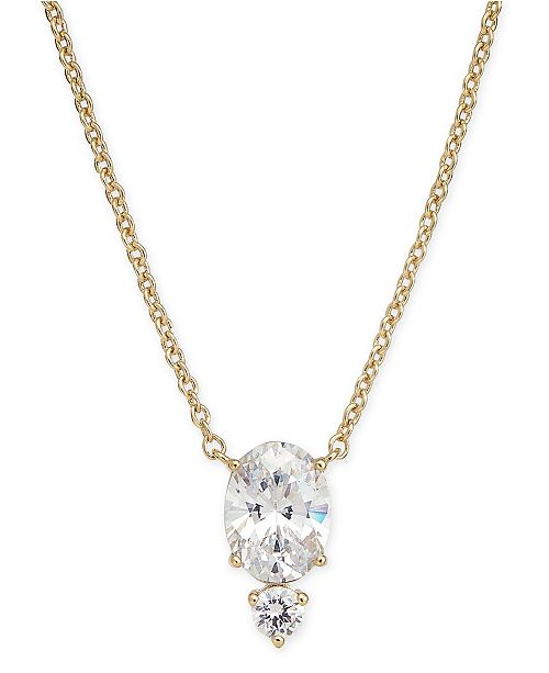 """Eliot Danori Crystal Oval Pendant Necklace, 16"""" + 1"""" extender, Created for Macy's"""