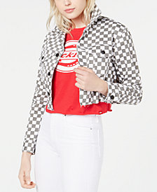 Dickies Cropped Checkered Denim Jacket