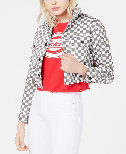 Dickies Cropped Checkered Denim Jacket